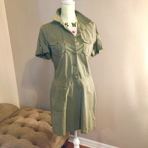 Olive Green Military Drop Waist J Crew Dress